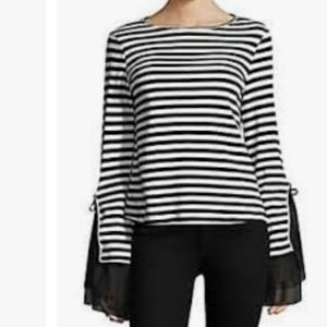 SAKS FIFTH AVE. SCRIPTED Stripe Top Tulle Sleeve